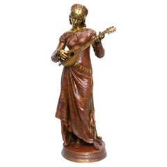 French Polychromed Bronze of Lady Playing the Lute