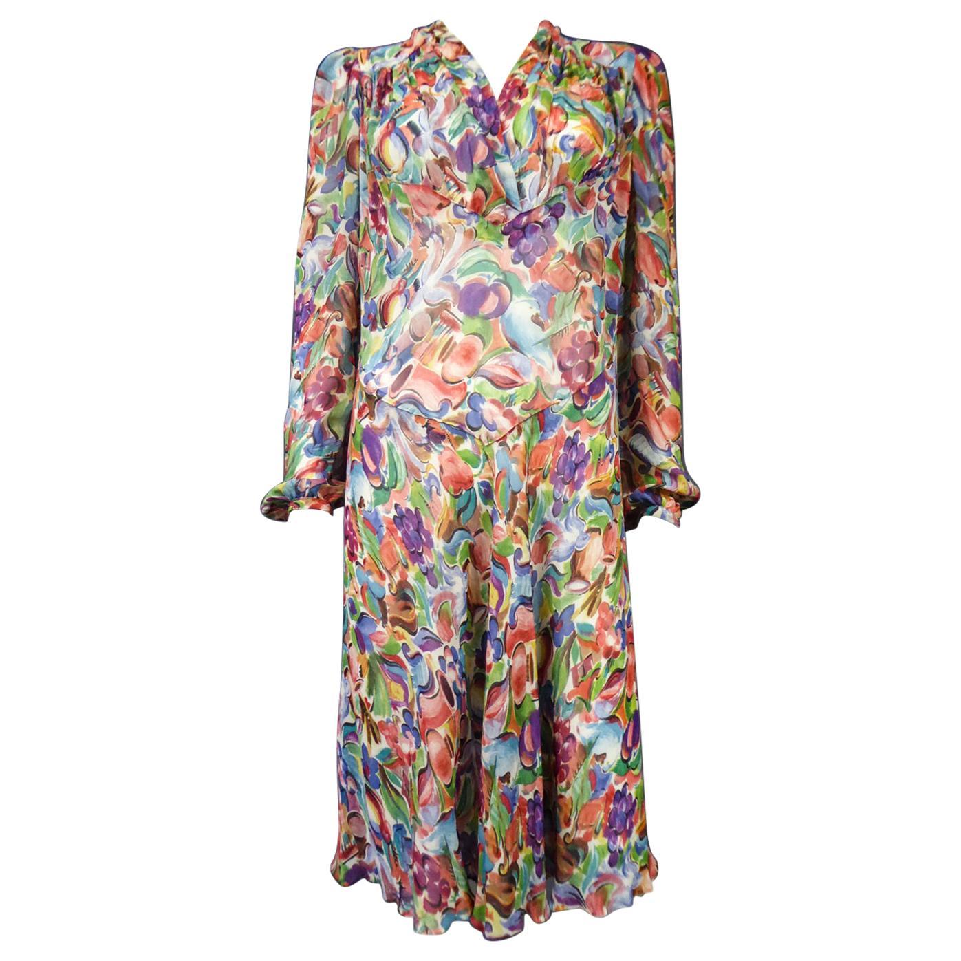 A French Printed Silk Crepe Dress Raoul Dufy inspiration Circa 1940