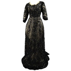 A French Reception Dress in Tulle Embroidered with Jet and Sequins Circa 1900