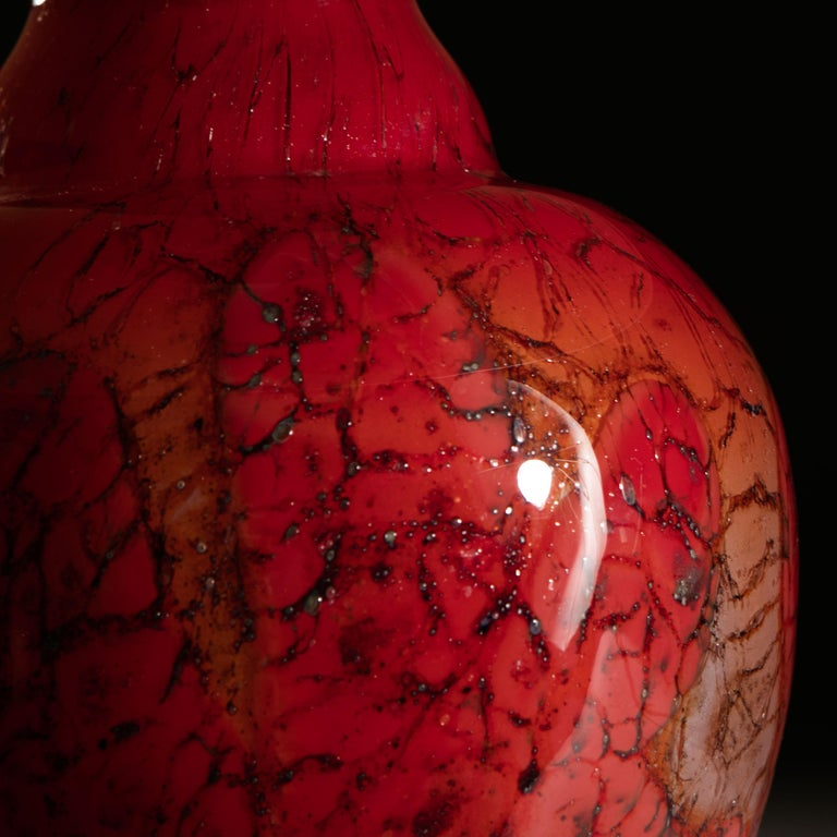 French Red Art Glass Vase as a Table Lamp In Good Condition For Sale In London, GB