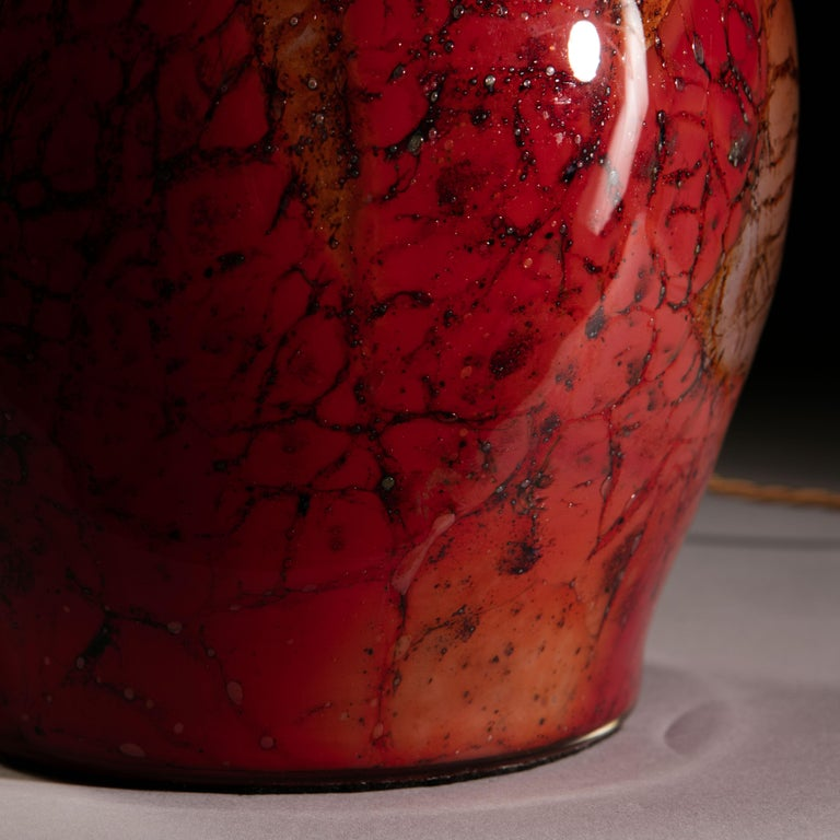 French Red Art Glass Vase as a Table Lamp For Sale 1