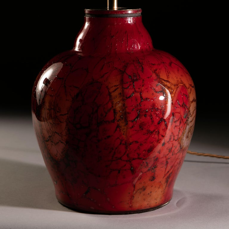 French Red Art Glass Vase as a Table Lamp For Sale 3