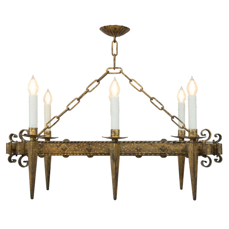 French Renaissance Style 19th Century Gilt Iron Six-Arm Chandelier In Excellent Condition For Sale In West Palm Beach, FL