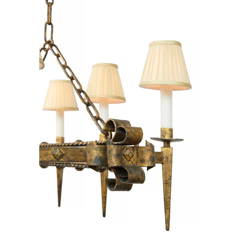 French Renaissance Style 19th Century Gilt Iron Six-Arm Chandelier For Sale 1