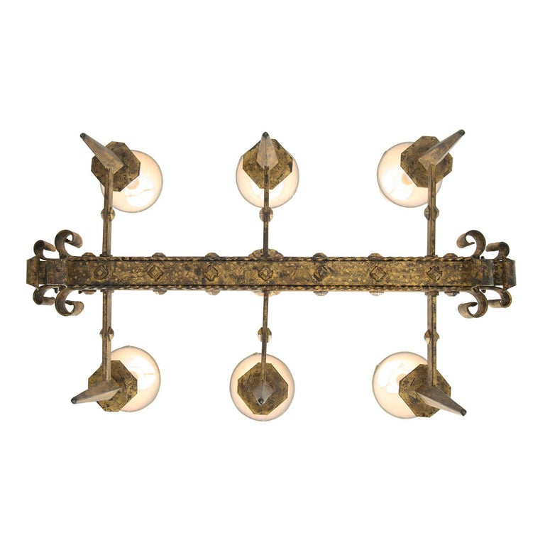 French Renaissance Style 19th Century Gilt Iron Six-Arm Chandelier For Sale 3