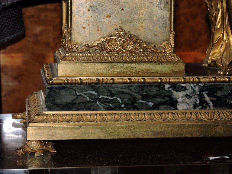 French Restauration Marble and Ormolu Mantle Clock For Sale 5
