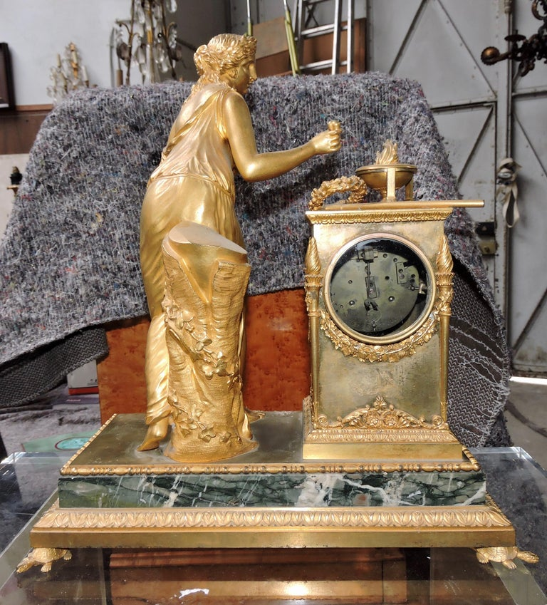 Mid-19th Century French Restauration Marble and Ormolu Mantle Clock For Sale