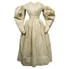 A French Romantic Era Printed Cotton Day Dress Circa 1830