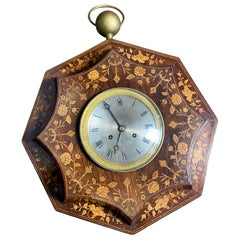 French Rosewood and Boxwood Cased Wall Clock, 19th Century
