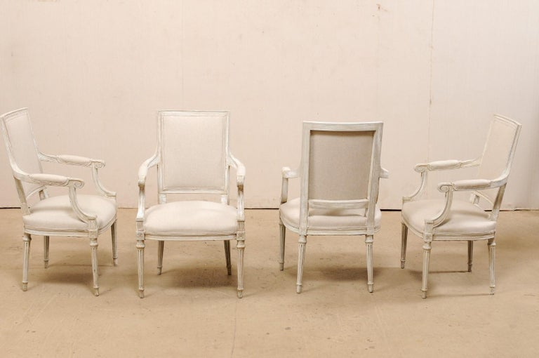 French Set of Four Carved Wood Armchairs with Newly Upholstered Seats and Backs For Sale 5