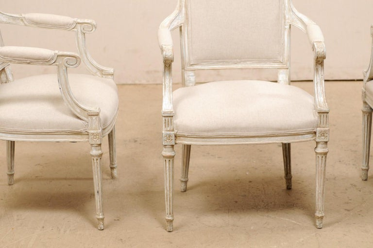 French Set of Four Carved Wood Armchairs with Newly Upholstered Seats & Backs For Sale 6
