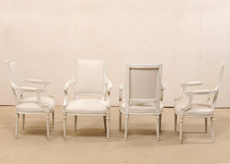 French Set of Four Carved Wood Armchairs with Newly Upholstered Seats & Backs In Good Condition For Sale In Atlanta, GA