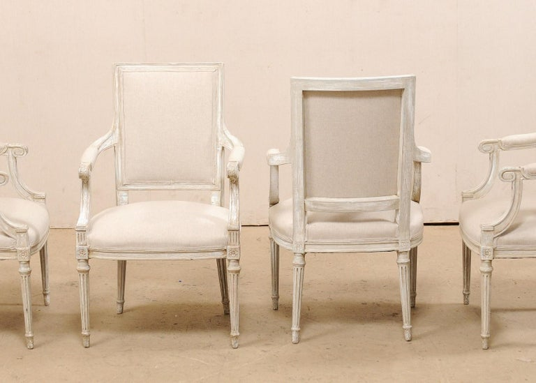 20th Century French Set of Four Carved Wood Armchairs with Newly Upholstered Seats and Backs For Sale