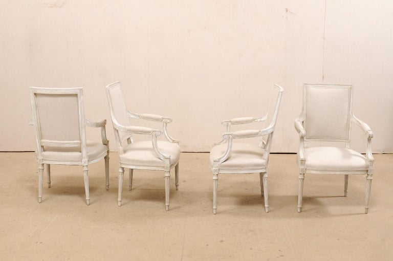 Upholstery French Set of Four Carved Wood Armchairs with Newly Upholstered Seats and Backs For Sale