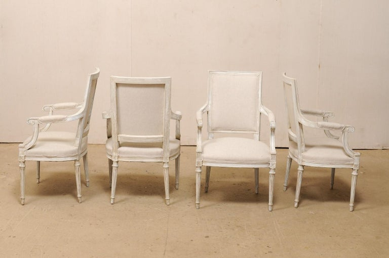 French Set of Four Carved Wood Armchairs with Newly Upholstered Seats and Backs For Sale 1