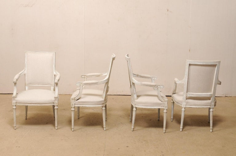 French Set of Four Carved Wood Armchairs with Newly Upholstered Seats and Backs For Sale 2