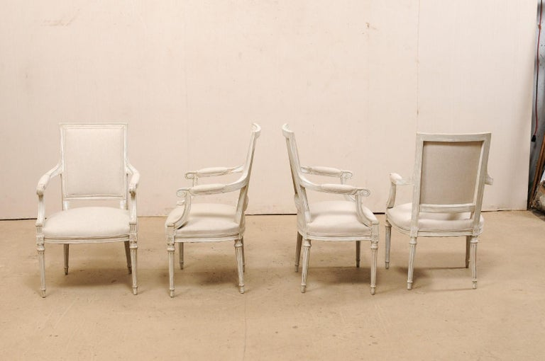 French Set of Four Carved Wood Armchairs with Newly Upholstered Seats and Backs For Sale 3