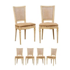 French Set of Six Louis XVI Style Cane Back Side Chairs, Early 20th C.