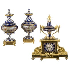 French Sèvres-style Gilt Bronze and Jeweled Porcelain Clock Set