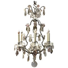 A French Silvered Bronze and Crystal Chandelier