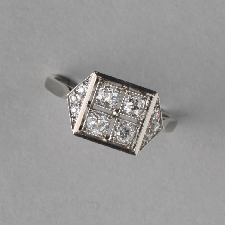 Old European Cut French Square Platinum Art Deco Ring with Diamonds For Sale