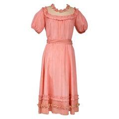 A French Summer Dress In Rayon Taffeta Fabric Circa 1920/1930