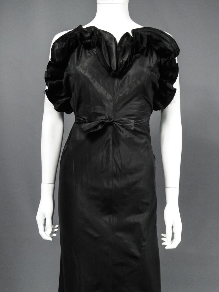 Black A French Taffeta Couture Evening Dress Possibly Worth Circa 1935 For Sale