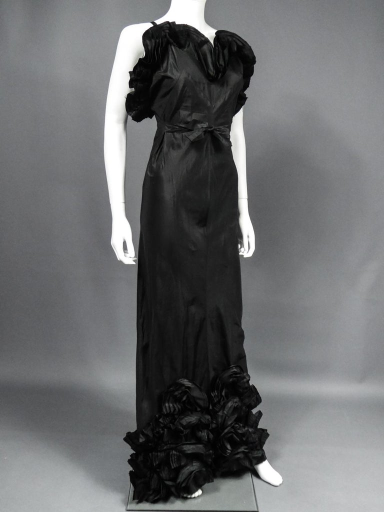 A French Taffeta Couture Evening Dress Possibly Worth Circa 1935 For Sale 3