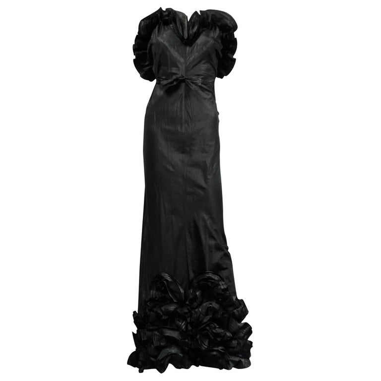 A French Taffeta Couture Evening Dress Possibly Worth Circa 1935 For Sale