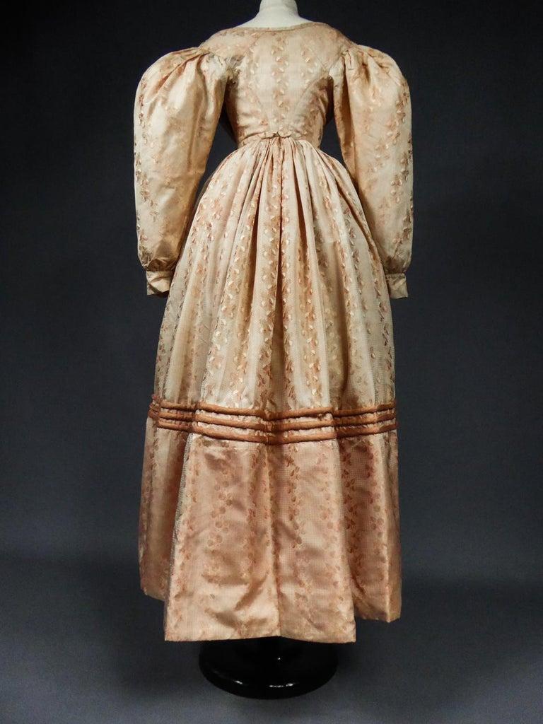 A French Taffeta Silk Ball Gown - France Charles X Period Circa 1825 For Sale 7