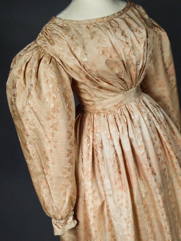 A French Taffeta Silk Ball Gown - France Charles X Period Circa 1825 For Sale 10