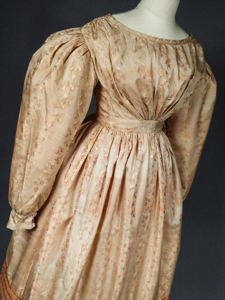A French Taffeta Silk Ball Gown - France Charles X Period Circa 1825 For Sale 11