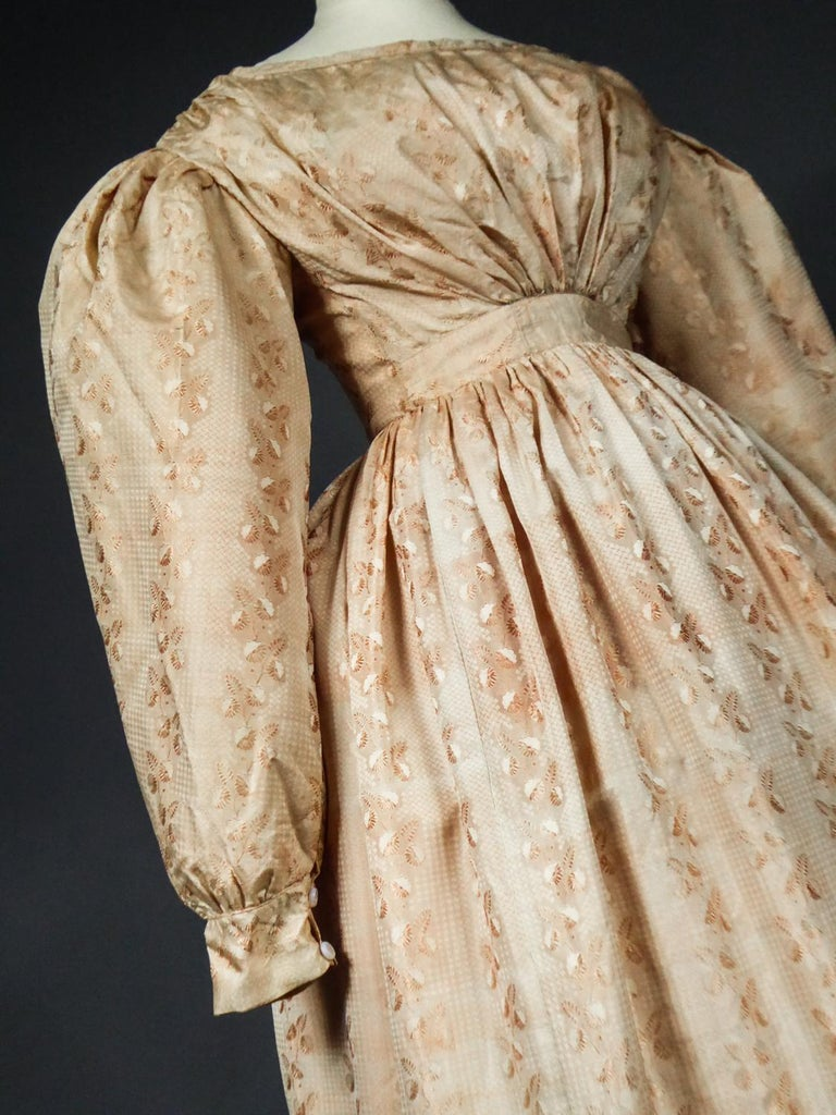 A French Taffeta Silk Ball Gown - France Charles X Period Circa 1825 For Sale 12