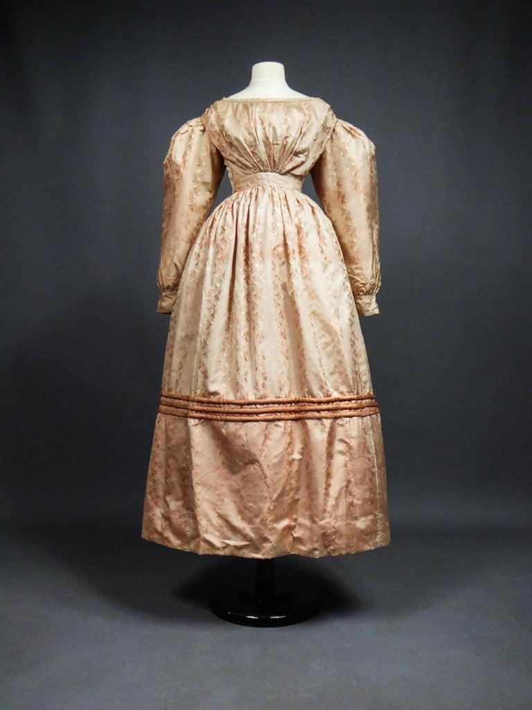 A French Taffeta Silk Ball Gown - France Charles X Period Circa 1825 For Sale 14