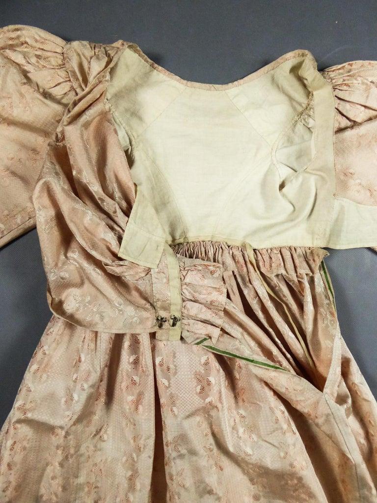 Beige A French Taffeta Silk Ball Gown - France Charles X Period Circa 1825 For Sale