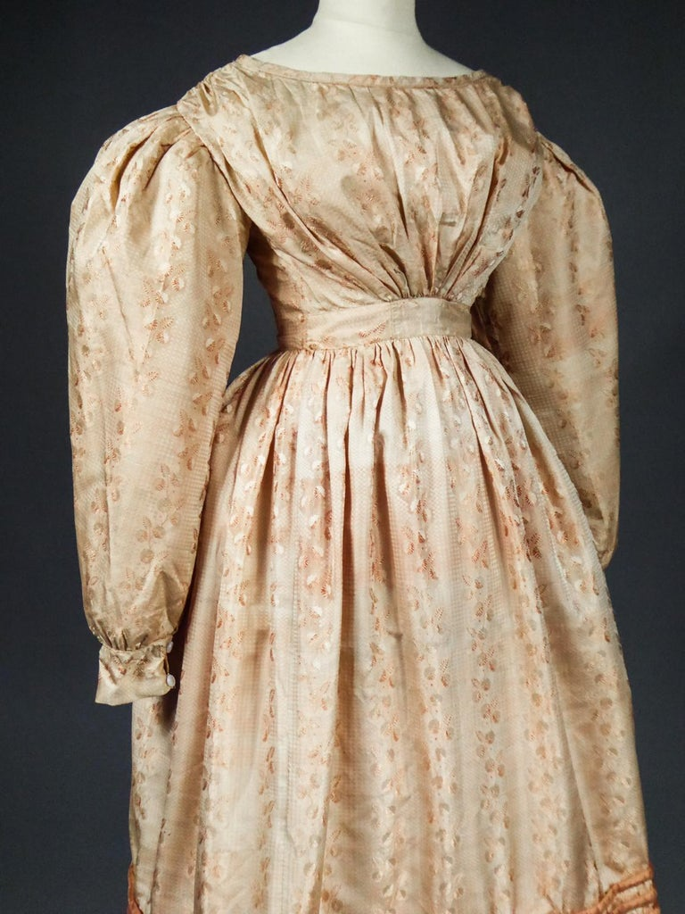 A French Taffeta Silk Ball Gown - France Charles X Period Circa 1825 For Sale 2