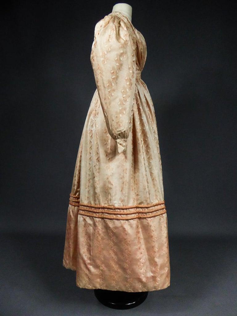A French Taffeta Silk Ball Gown - France Charles X Period Circa 1825 For Sale 3