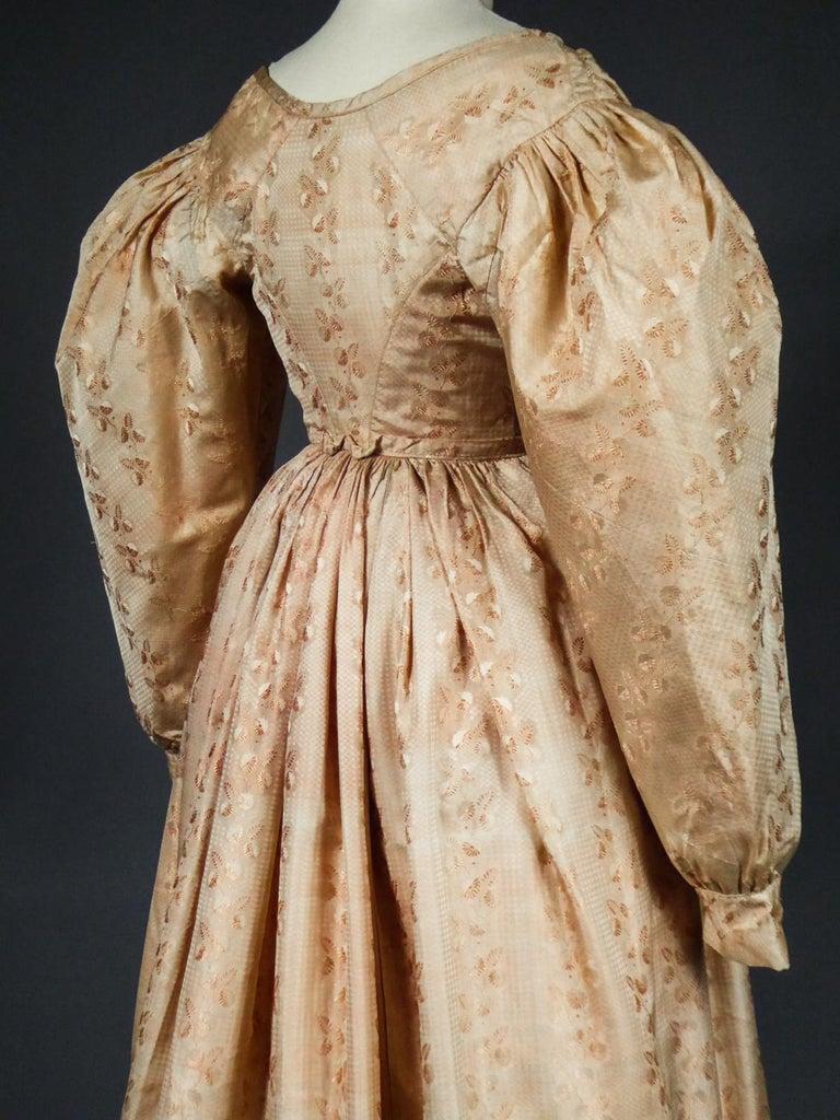 A French Taffeta Silk Ball Gown - France Charles X Period Circa 1825 For Sale 4