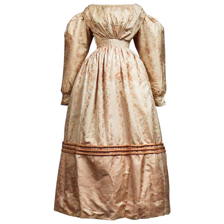 A French Taffeta Silk Ball Gown - France Charles X Period Circa 1825 For Sale
