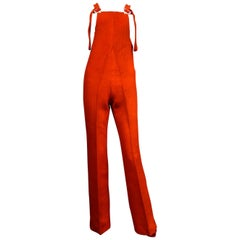 A French Vermilion Ribbed Velvet Jumpsuit Circa 1975