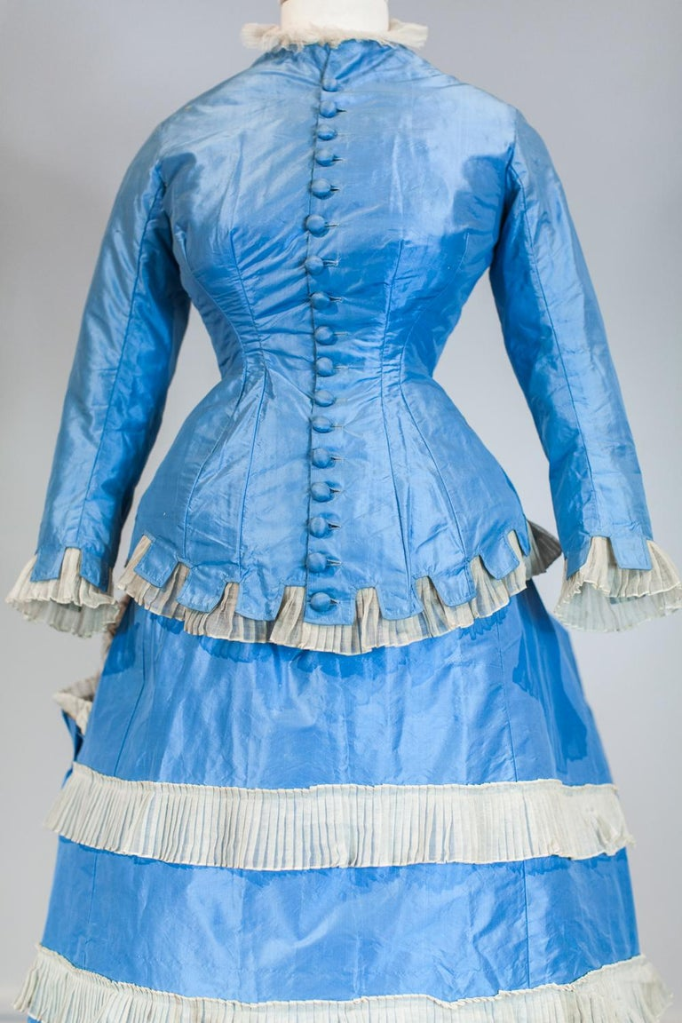 Blue A French Victorian Bustle Day Dress and Pouf in Sky-blue Taffeta Circa 1875 For Sale