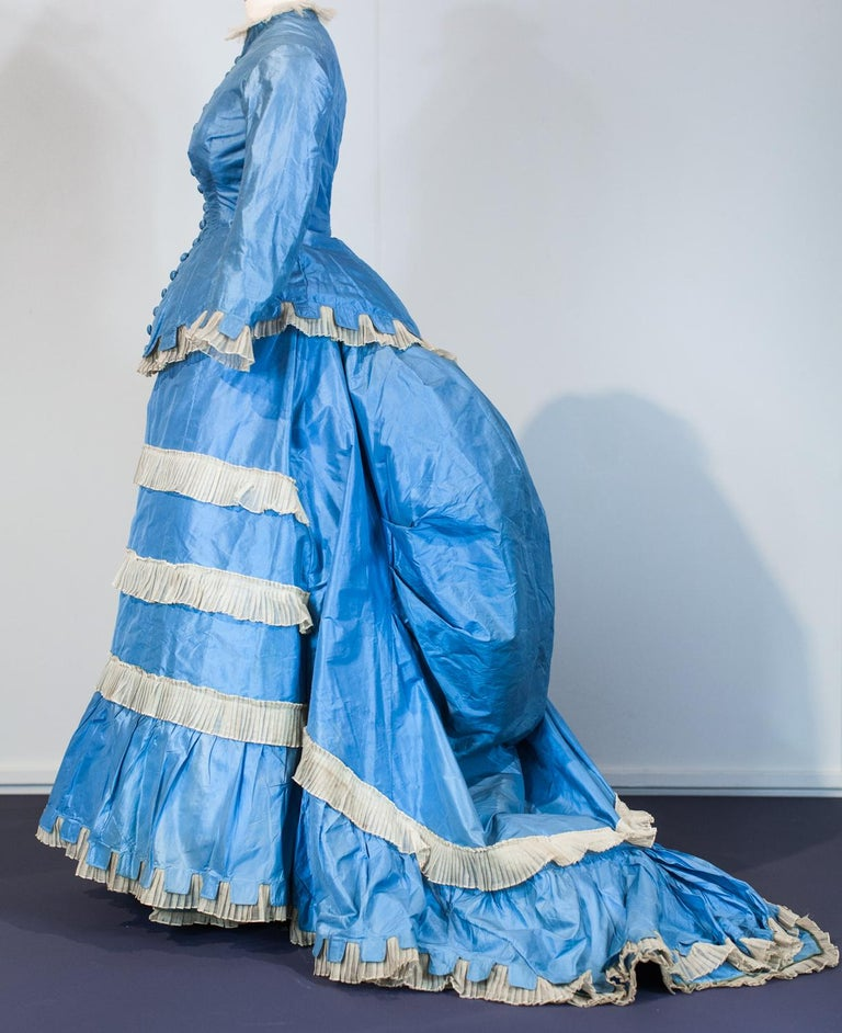 Women's A French Victorian Bustle Day Dress and Pouf in Sky-blue Taffeta Circa 1875 For Sale