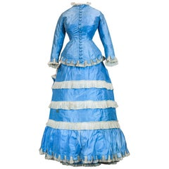 A French Victorian Bustle Day Dress and Pouf in Sky-blue Taffeta Circa 1875