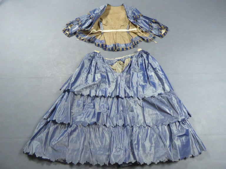 Gray A French Victorian Crinoline Dress with Changing Taffeta Circa 1855. For Sale