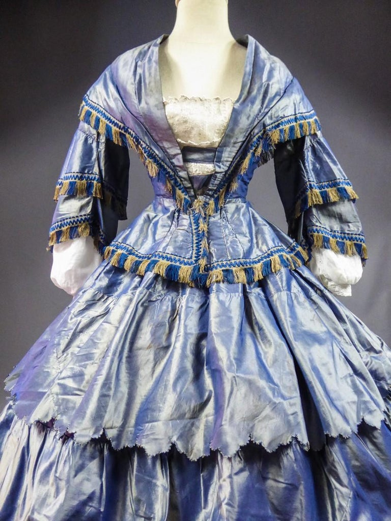 Women's A French Victorian Crinoline Dress with Changing Taffeta Circa 1855. For Sale