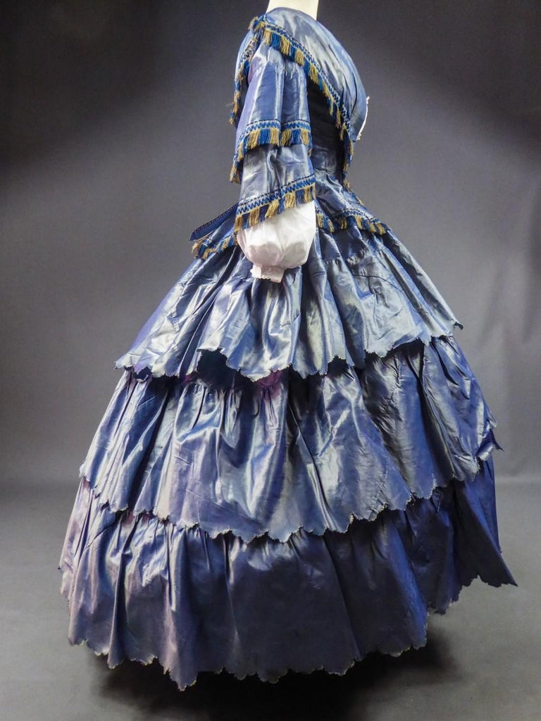 A French Victorian Crinoline Dress with Changing Taffeta Circa 1855. For Sale 2