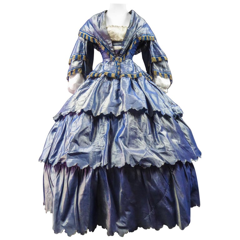A French Victorian Crinoline Dress with Changing Taffeta Circa 1855. For Sale