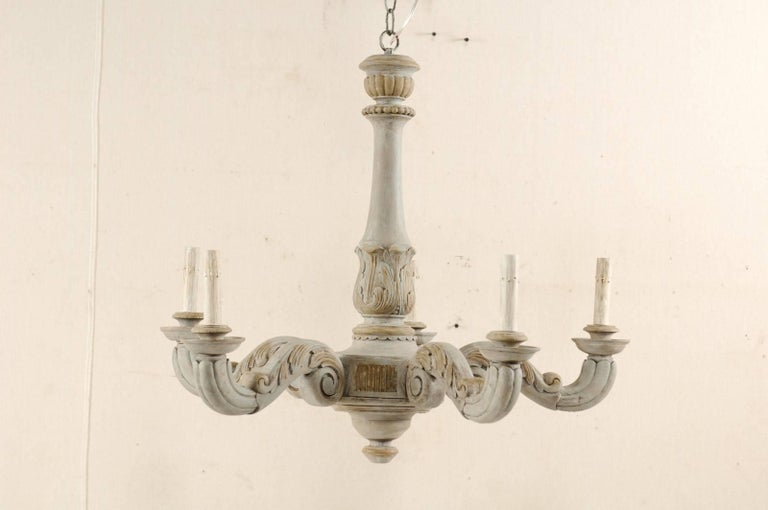 French vintage carved and painted wood chandelier with acanthus leaf 20th century french vintage carved and painted wood chandelier with acanthus leaf motifs for sale aloadofball Images
