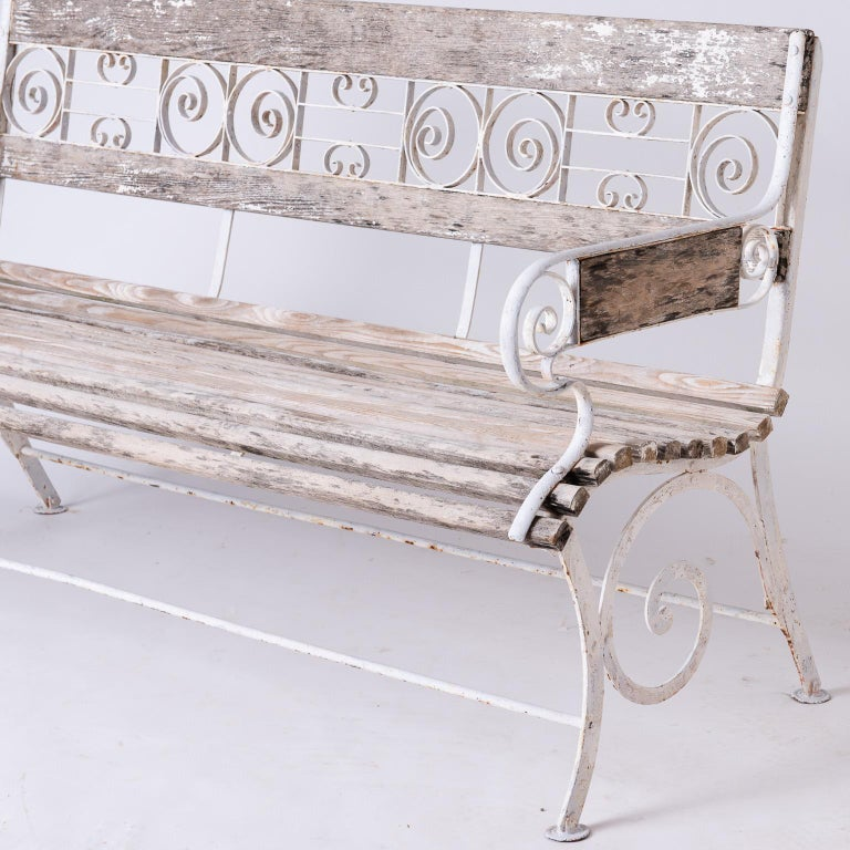 French Wood and Wrought Iron Garden Bench, circa 1900 In Good Condition For Sale In New Preston, CT