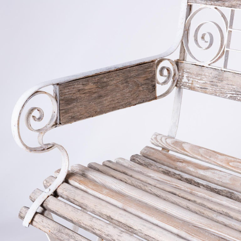 20th Century French Wood and Wrought Iron Garden Bench, circa 1900 For Sale